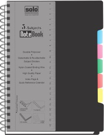 Solo Management 5 Subjects (Set Of 2) B5 Notebook Spiral Binding - Black