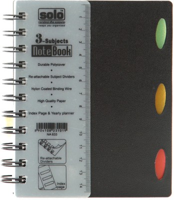 Buy Solo Management 3 Subjects (Set of 4) A6 Notebook Spiral Binding: Diary Notebook