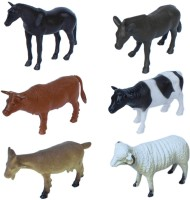 Tootpado Farm Animals Plastic Toy Set - Pack Of 6 - 1c187 - Educational & Decorative For Kids (Multicolor)