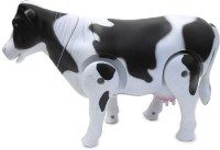 Nds Battery Operated Walking Cow Toy (Wags Tail, Shakes Head, Moves Around) (White, Black)