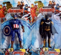 Avengers Combo Of Captain America And Batman Toy Model (Multicolor)
