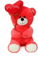 Giftwish Soft Stuff Cute Teddy Bear With I Love You Heart Ballon Red Soft Toy 32cm- H (Red)