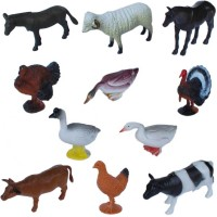 Tootpado Pet And Farming Animals Plastic Toy Set - Pack Of 11 - 1c190 - Educational & Decorative For Kids (Multicolor)