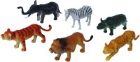 Tootpado Wild Zoo Forest Animals Plastic Toy Set - Pack Of 6 - 1c185 - Educational & Decorative For Kids (Multicolor)