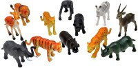 A2B 12 Setwild Animals Plastic Toys For Kids (Multicolor)