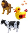 Smartkshop Walking Milk Cow And Egg Laying Funny Duck Bump With Lion Battery Operated Toy Animal For Kids Gift Toy - Multicolor