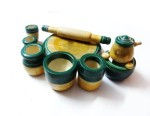 Kalaplanet Action Figures Kalaplanet Eco Friendly Green Wooden Toy Kitchen Set