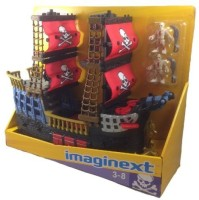Imaginext Fisher Price Imaginext Black And Red Pirate Ship With 2 Figures Skull Bones Sails (Black, Red, Blue)