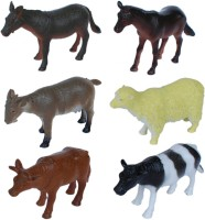 Tootpado Pet And Farming Animals Plastic Toy Set - Pack Of 6 - 1c189 - Educational & Decorative For Kids (Multicolor)