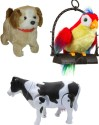 Smartkshop Talking Parrot Musical Toy Talk Parrot And Fantastic Puppy Battery Operated Jumping Dog Run Jump Toy With Walking Milk Cow Toy - Multicolor