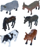 Tootpado Pet And Farming Animals Plastic Toy Set - Pack Of 6 - 1c193 - Educational & Decorative For Kids (Multicolor)