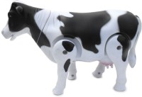 AdiEstore Battery Operated Walking Cow Toy (Wags Tail, Shakes Head, Moves Around) (Black, White)