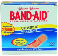 Band-Aid Antiseptic Washproof 100 Strips & 30 Strips Wash Proof Free Adhesive Band Aid (Set Of 130)