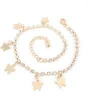Ammvi Creations Gold Foamed Butterflycharms Cz Alloy Anklet