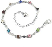 Ammvi Creations Saucy Stones Multicolour Zircons German Silver Adorable Alloy Anklet
