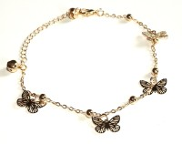 Sansar India Golden Butterfly Charms Chain Brass Anklet