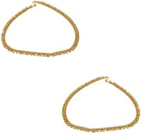 Orniza Plain Payal In Neutral Color With Golden Polish Brass Anklet Pack Of 2 - ANKECY9ZSZBECFHY