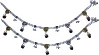 Aman Straight High Polish Payal 5 Silver Anklet (Pack Of 2)