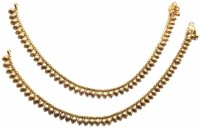 Jewelshingar 9714-payal-antique Brass Anklet Pack Of 2