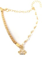 Ammvi Creations Gold Foamed Mesh & Links Chain W/ Tiara Charm Alloy Anklet