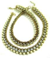 Glittering World Designer White Stone And Pearl Alloy Anklet Pack Of 2