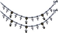 Aman Straight High Polish Payal 6 Silver Anklet (Pack Of 2)