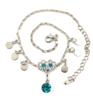 Ammvi Creations Delightful Crystal & Cz G-Silver Alloy Anklet