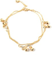 Ammvi Creations Gold Foamed Multi Tasseled Chain W/ Bells Alloy Anklet