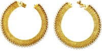 Women Trendz Golden Polish Traditional Micro Plated With Pearls Brass Anklet (Pack Of 2)
