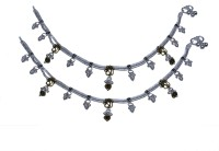 Aman Straight High Polish Payal 4 Silver Anklet (Pack Of 2)