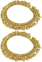 Orniza Plain Payal In Neutral Color With Golden Polish Brass Anklet Pack Of 2