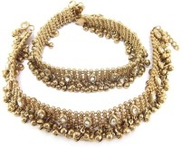 Shining Diva Antique Gold Ethnic Kundan Alloy Anklet Pack Of 2