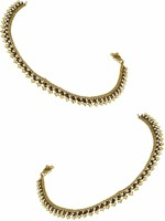 Orniza Reverse AD Payal In Maroon Color With Golden Polish Brass Anklet Pack Of 2