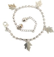 Ammvi Creations Maple Leaves Cz Embellished Alloy Anklet