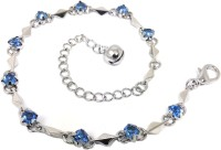 Ammvi Creations Sapphire Blue Stones Alloy Anklet