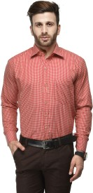 Koolpals Men's Checkered Formal Red Shirt