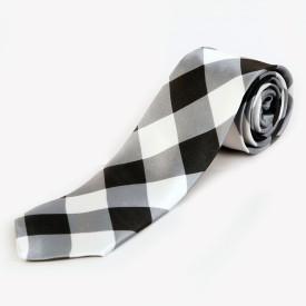 Blacksmith Black And White Checks Design Checkered Men's Tie