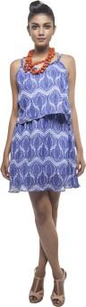 Sassy Stripes Women's High Low Blue, White Dress