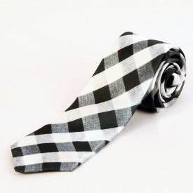 Blacksmith Black And White Husk Checks Design Checkered Men's Tie