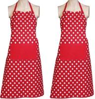Venkateswara Export Cotton Apron Free Size Red, White, Pack Of 2