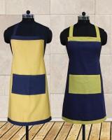 Dekor World Cotton Apron (Free, Yellow, Dark Blue, Pack Of 2)