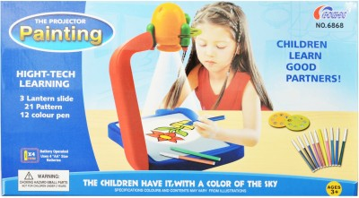 Just Toyz The Painting Projector High Tech Learning Tool, 3 Lantern Slide With 21 Patterns And 12 Colour Pens