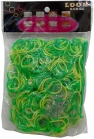 Shatchi 2 Tone Green & Yellow 600 Loom Band Refill Kit Kids Arts Crafts Toys With S Clips & Hook, Birthday, Anniversary, Festival