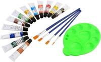 DOZEN Artist Quality 12ml Fabric Color Tubes Set With 4 Paint Brushes & Palette Painting Art Set