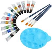 DOZEN Artist Quality 12ml Water Color Tubes Set With 4 Paint Brushes & Palette Painting Art Set