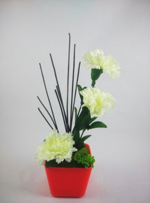 Magical Petals Magical Petals White Carnations Artificial Flower with Pot