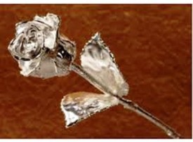 Deepak Traders Silver Rose Artificial Flower