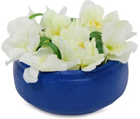 Gifts By Meeta White Assorted Artificial Flower with Pot