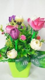 KAYKON Multicolor Rose Artificial Flower  with Pot