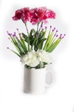 Magical Petals Magical Petals Pink, White Carnations Artificial Flower with Pot